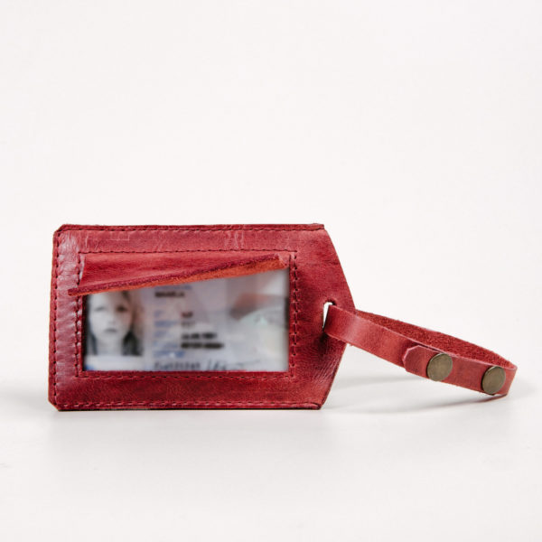 Burgundy luggage tag/ Card holder